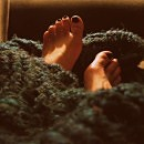 woman feet with blanket