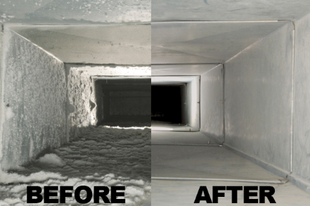 Before and after HVAC cleaning.