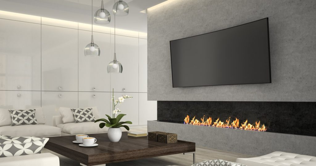 Fireplace mounted over TV